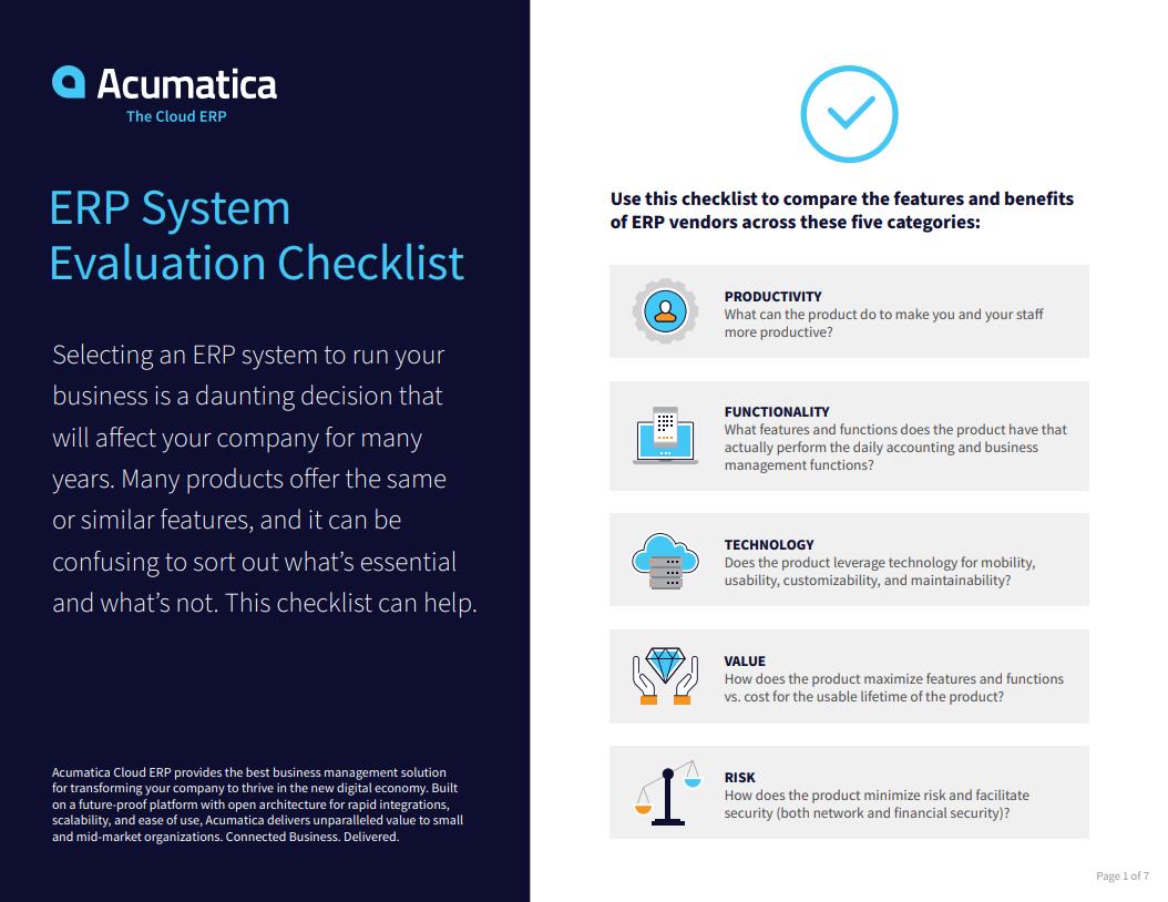 Acumatica Erp Comparison Checklist